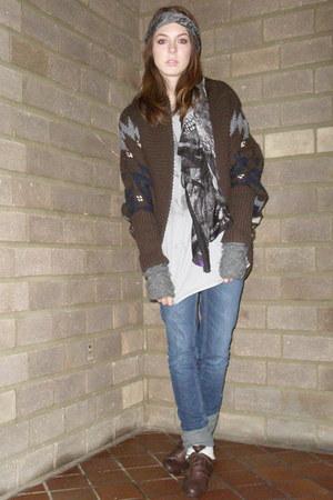 Zara jumper - Lisabeth Dahl gloves - new look boots - River Island scarf