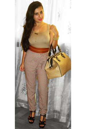 Topshop bag - new look heels - dark khaki Forever 21 top - brick red H&M belt -
