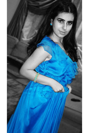 blue chiffoniffon self-made dress - Aldo earrings - Topshop bracelet