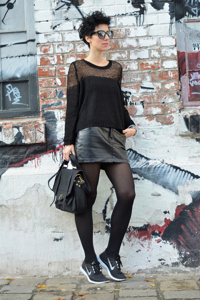 GINA TRICOT sweater - wwwnowistylejp bag - wwwoasapcom sunglasses - H&M skirt