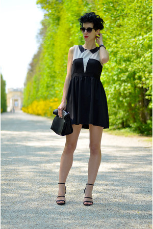 H&M shoes - Sheinside dress - Zara bag - zeroUV sunglasses