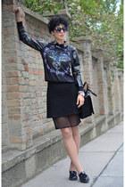 wwwchoiescom blouse - H&M shoes - Zara bag - wwwoasapcom sunglasses - asos skirt