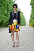 Sheinside skirt - H&M shoes - Sheinside blazer - Zara bag - zeroUV sunglasses