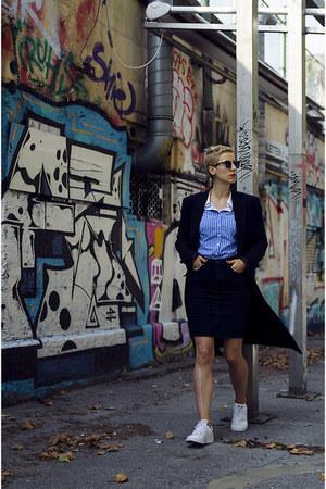 H&M denim conscious skirt - Adidas shoes - H&M coat - zeroUV sunglasses