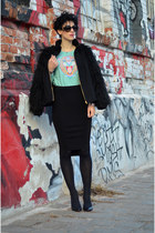 H&M sweatshirt - PERSUNMALL shoes - zeroUV sunglasses - H&M Trend skirt