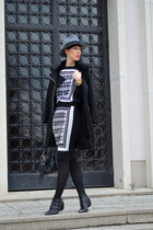 H&M blouse - zalando boots - Sheinside coat - H&M skirt