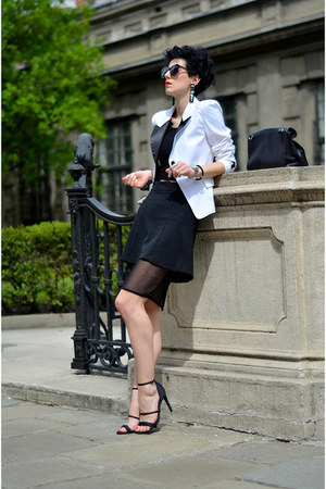asos skirt - H&M shoes - Sheinside blazer - Zara bag - zeroUV sunglasses