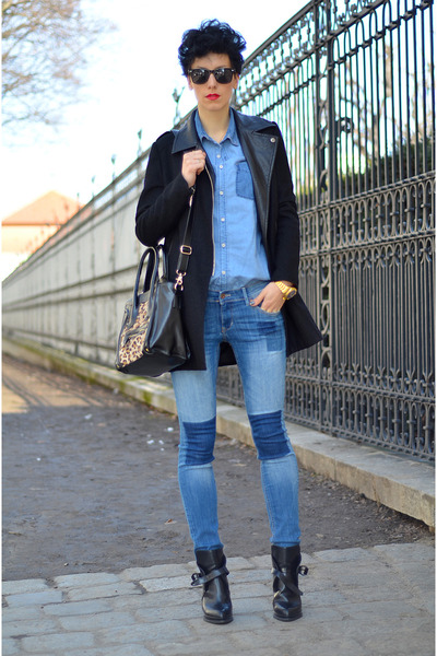 H&M jeans - Sheinside coat - H&M shirt - zeroUV sunglasses