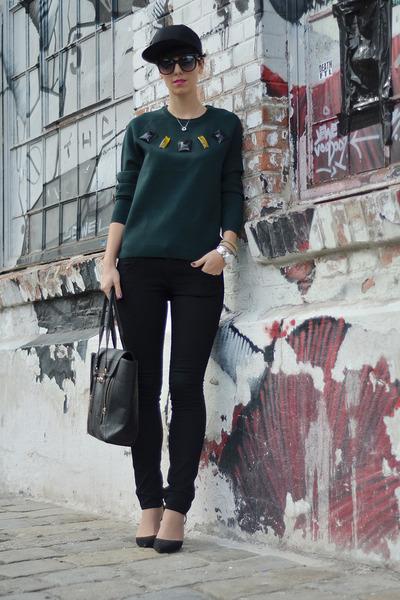 H&M Trend sweater - Zara shoes - H&M jeans - H&M hat - wwwvj-stylecom bag