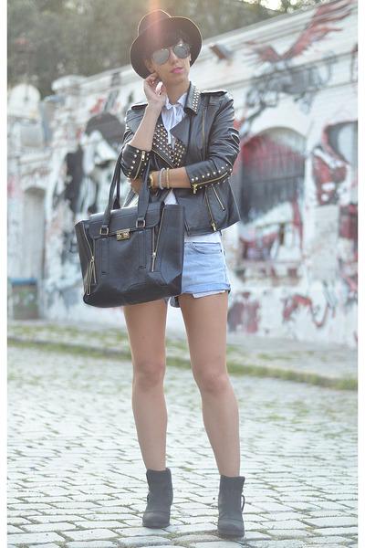 wwwchoiescom jacket - Topshop boots - wwwvj-stylecom bag - Levis shorts