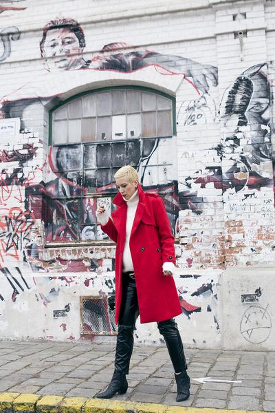dresslily coat - Zara boots - Zara pants