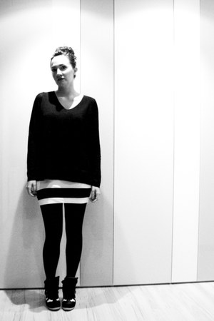 black H&M jumper - white black and white H&M skirt