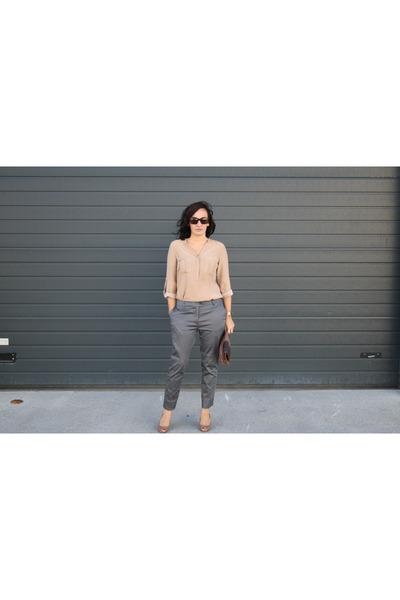 H&M pants - asos shoes - silk Zara blouse
