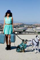 blue blue floppy vintage hat - turquoise blue behoneybee dress