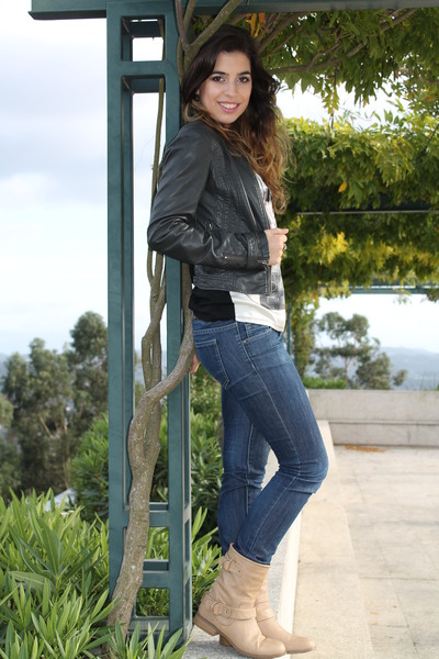 Stradivarius boots - c&a blouse