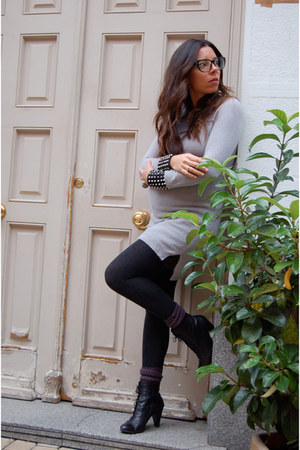 Maje dress - Office boots - Calzedonia tights - Zara glasses - Bimba & Lola ring