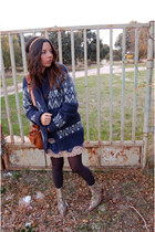 H&M cardigan - sancho boots - Urban Outfitters dress - Nat et nin bag