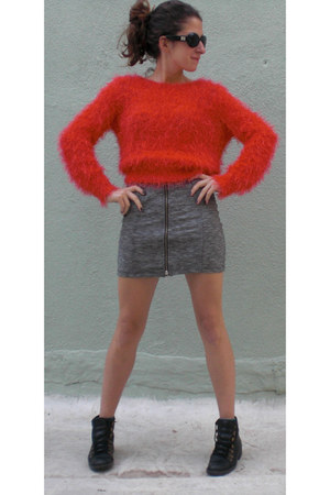black Febo boots - red H&M sweater - heather gray Topshop skirt