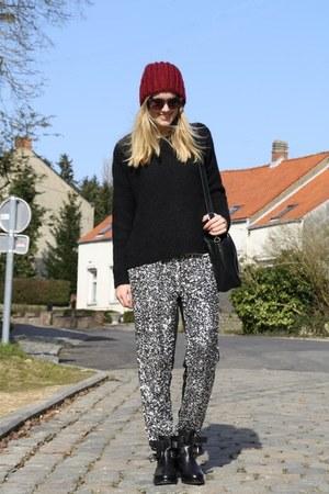 black Topshop boots - black Zara sweater - black Furla bag