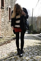 new look sweater - Topshop boots - Furla bag - Urban Outfitters skirt