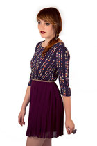 purple pleat everly dress