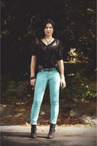 turquoise blue next jeans - black Primark boots - black lace Yen of London shirt