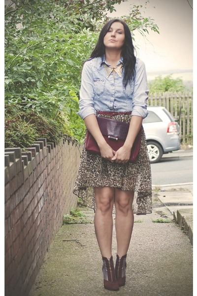 blue Miss Selfridge shirt - crimson H&M boots - dark brown Primark skirt