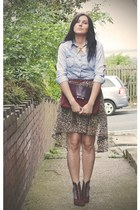 blue Miss Selfridge shirt - crimson H&M boots - dark brown Primark skirt