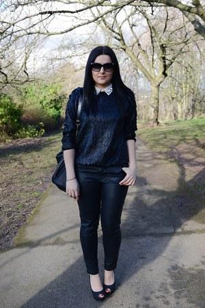 black Front Row Shop sweatshirt - black Steve Madden bag - black next heels