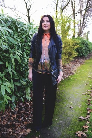 neutral Choies shirt - black leather Miss Selfridge jacket