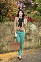 turquoise blue jeans - brown next bag