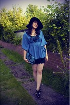 black TK Maxx hat - teal TK Maxx blouse - black lace next skirt