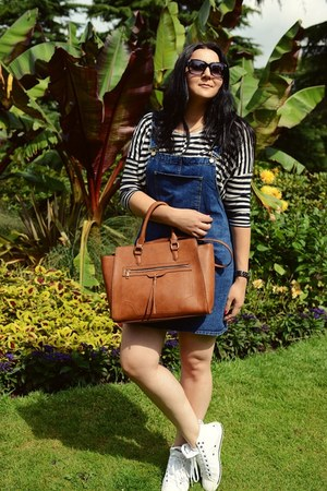 dark brown Stradivarius bag - navy Atmosphere dress - black Stradivarius blouse