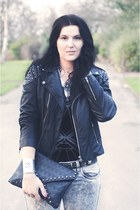 black leather Miss Selfridge jacket - black OASAP bag
