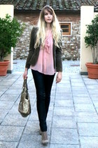 nude chiffon H&M blouse - beige suede ankle Diesel boots