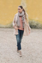 beige Diesel boots - peach hoss intropia coat - blue 7 for all mankind jeans