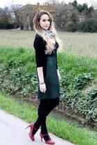 dark green La Perla skirt - periwinkle Fendi scarf - black dior cardigan