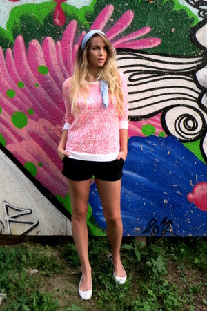 bubble gum H&M sweater - black Womens secret shorts - white Giorgio Armani flats
