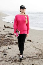 black Baghera hat - hot pink new look sweater - hot pink vintage bag