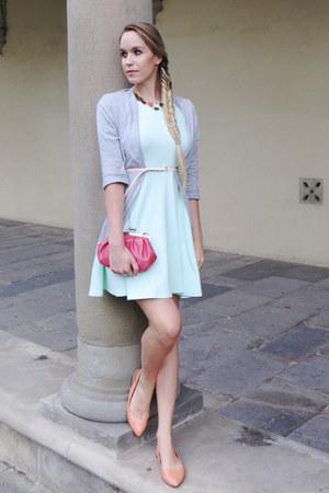 light blue cotton H&M dress - salmon vintage purse - neutral H&M belt