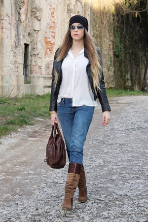 black Urban Outfitters hat - brown Jessica Simpson boots - blue Diesel jeans
