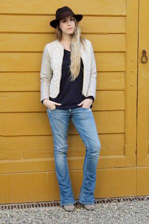 dark brown bcbg max azria hat - beige Diesel boots - blue Fornarina jeans