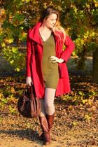 red Guess coat - olive green Topshop dress - beige tezenis tights
