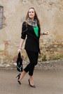 Black-guess-shoes-white-just-cavalli-scarf-black-la-perla-cardigan