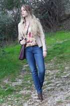 blue Praio jeans - cream leather vintage jacket - dark brown Badgley Mischka bag