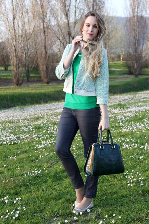 green Anthropologie blazer - gray H&M jeans - forest green Claid bag