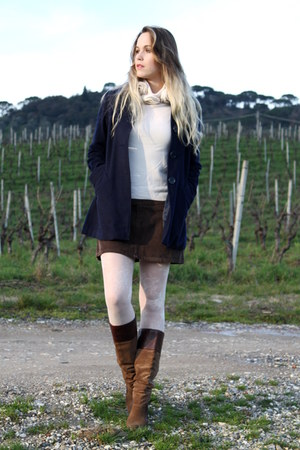 white RED valentino sweater - dark brown Jessica Simpson boots - navy Mango coat