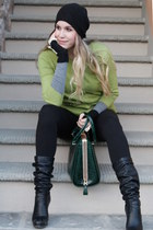black divarese boots - black Urban Outfitters hat - dark green Claid bag