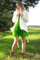 chartreuse chiffon vintage dress - camel leather Mia boots - white Only cardigan