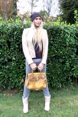 beige leather vintage jacket - ivory Pepenè boots - heather gray Gas jeans